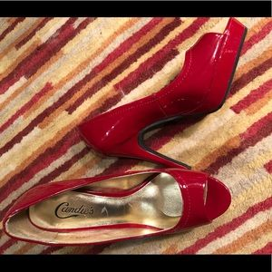 Red pump shoe 4.5 inch heel